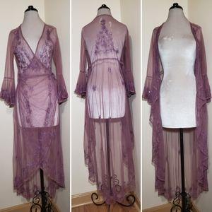 Lavender Sequin Embellished Maxi Tulle Duster Wrap